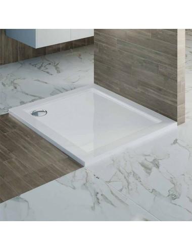 Piatto doccia slim quadrato in abs rinforzato 100x100 h 4 cm bianco lucido