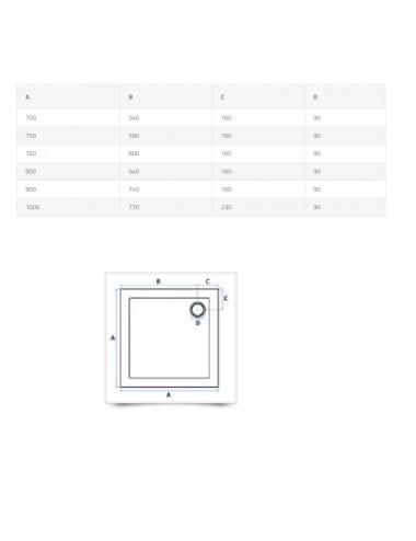 Piatto doccia slim quadrato in abs rinforzato 90x90 h 4 cm bianco lucido