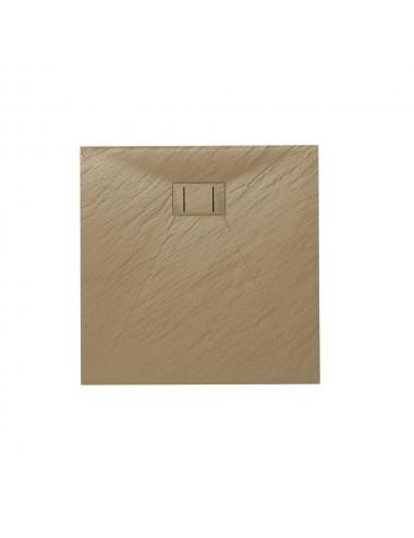 Piatto doccia slim quadrato 90x90 h 2.6 cm tortora effetto pietra