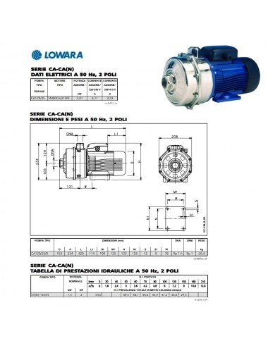 POMPA SUPERFICE LOWARA CENTRIFUGA BIGIRANTE TRIFASE HP 2 KW 1 5 SERIE CA120 35 D