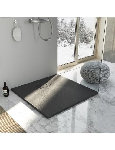 Piatto doccia slim quadrato 80x80 h 2.6 cm antracite effetto pietra