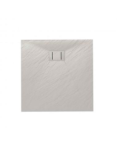 Piatto doccia slim quadrato 80x80 h 2.6 cm bianco effetto pietra