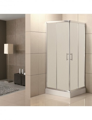Box doccia angolare scorrevole 90x90 h 190 cm cristallo opaco 6 mm