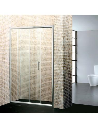 Porta doccia nicchia 140 cm h190 ante scorrevoli cristallo trasparente 6mm
