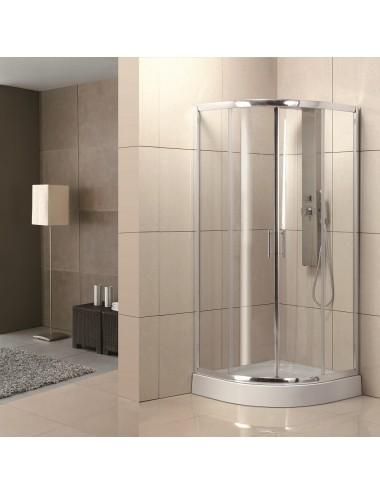 Box doccia angolare semicircolare scorrevole 80x80 cristallo trasparente 6 mm