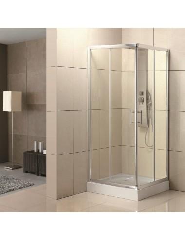 Box doccia angolare scorrevole 80x80 h 190 cm cristallo trasparente 6 mm