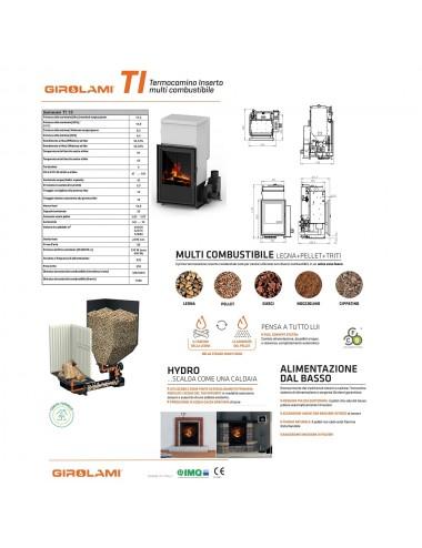 Termocamino policombustibile Girolami Ti Hydro 14Kw + KIT ACS