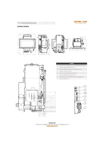 Termocamino policombustibile Girolami Ti Panorama Hydro 22Kw + KIT ACS