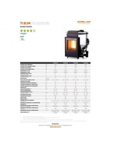 Termocamino policombustibile Girolami Ti Slim Hydro 14Kw + KIT ACS