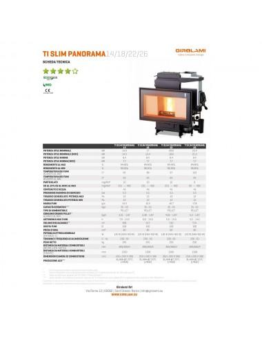 Termocamino policombustibile Girolami Ti Slim Panorama Hydro 26Kw + KIT ACS
