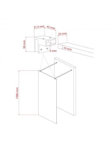 Parete doccia Walk-In Free Standing cm 100 cristallo trasparente 8 mm