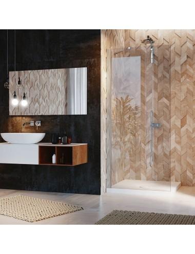 Parete doccia Walk-In a muro cm 17 cristallo trasparente 6 mm reversibile