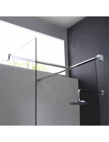 Parete doccia Walk-In angolare 75x140 h 198 cm cristallo trasparente 8 mm