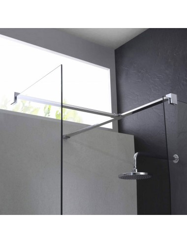 Parete doccia Walk-In angolare 80x140 h 198 cm cristallo trasparente 8 mm