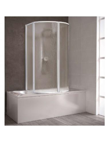 Box doccia parete vasca curvo acrilico 2 ante battenti + 2 ante soffietto cm 80