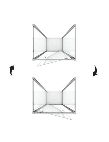 Box doccia 3 lati Crystal 80x80x80 h198 cm a battente cristallo trasparente 6mm