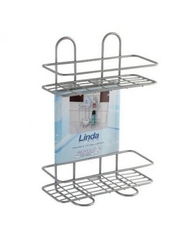 Mensola bagno doccia rettangolare 2 ripiani acciaio cromo antiruggine Feridras